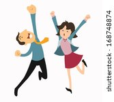 happy business man and woman... | Shutterstock .eps vector #168748874