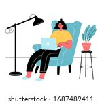 young woman is sitting with... | Shutterstock .eps vector #1687489411