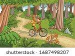 cartoon yellow baboon monkeys...   Shutterstock .eps vector #1687498207