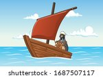 cartoon quail steering a small...   Shutterstock .eps vector #1687507117