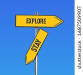 yellow road signs with 'explore ... | Shutterstock .eps vector #1687509907