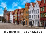 Bryggen, Bergen, Norway. Hanseatic heritage commercial wooden buildings in the city of Bergen.