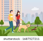 woman and man wearing face... | Shutterstock .eps vector #1687527211