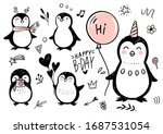 Doodle Penguins. Hand Drawn Se...