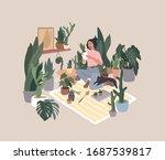 girl caring for house plants in ... | Shutterstock .eps vector #1687539817