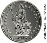 1 Swiss franc and 50 centimes coin minted obverse with Helvetia shown standing, the official coin used in Switzerland and Liechtenstein