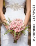 wedding bouquet of pink roses ... | Shutterstock . vector #168754385