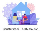 man distantly works at home...   Shutterstock .eps vector #1687557664