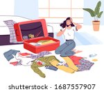 a young woman packs her...   Shutterstock .eps vector #1687557907
