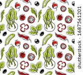 seamless pattern with cucumber  ... | Shutterstock .eps vector #1687561201