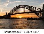 sun sets in orange glowing ball ... | Shutterstock . vector #168757514