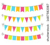 party bunting. flat yellow ... | Shutterstock .eps vector #1687582087
