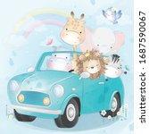 cute little animals driving a... | Shutterstock .eps vector #1687590067