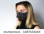 Woman wearing cloth cotton face ...