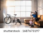 asian woman cyclist. she is...   Shutterstock . vector #1687673197
