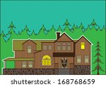 house in the forest   Shutterstock .eps vector #168768659