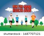 running men and women sports... | Shutterstock .eps vector #1687707121