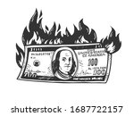 Burning Dollars Money Sketch...