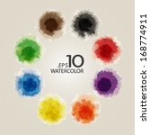 set of primary color watercolor ... | Shutterstock .eps vector #168774911