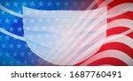 american flag with a medical... | Shutterstock .eps vector #1687760491
