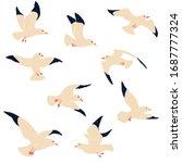 Seagulls Vector Illustration. ...