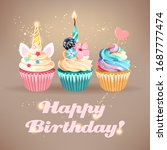 vector birthday card with cute... | Shutterstock .eps vector #1687777474