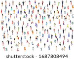 a group of people walk and... | Shutterstock .eps vector #1687808494