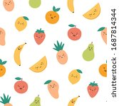 seamless pattern with funny... | Shutterstock .eps vector #1687814344
