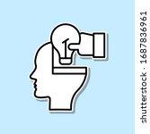 brain  hand  bulb sticker icon. ...