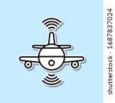 smart plane flying sticker icon....