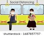social distancing.passenger in... | Shutterstock .eps vector #1687857757