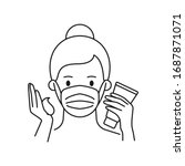 woman wearing mask and applying ...   Shutterstock .eps vector #1687871071
