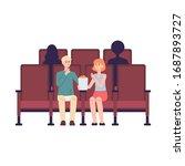 cartoon couple in cinema... | Shutterstock .eps vector #1687893727