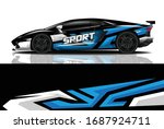 sports car wrapping decal design   Shutterstock .eps vector #1687924711