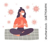 young woman doing meditation in ... | Shutterstock .eps vector #1687934494