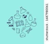 doodle medicine icon set for... | Shutterstock .eps vector #1687980061