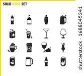 alcohol icons set with coffee...