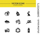 eco icons set with fire in...