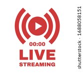 live streaming logo with play... | Shutterstock .eps vector #1688058151