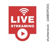live streaming logo with play... | Shutterstock .eps vector #1688059201