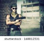 Military Man With Gun  ...