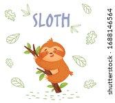 cute cartoon sloth in jungle on ... | Shutterstock .eps vector #1688146564