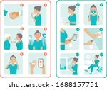 covid 19 virus protection tips. ... | Shutterstock .eps vector #1688157751