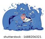 nightmares. child hid under... | Shutterstock .eps vector #1688206321