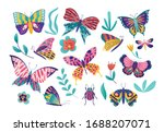 butterfly moth insect vector... | Shutterstock .eps vector #1688207071