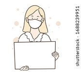 woman wearing white mask...   Shutterstock .eps vector #1688239951