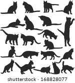 Stock vector vector silhouettes of cats collection 168828077