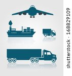 cargo transports. airplane ship ... | Shutterstock .eps vector #168829109