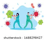 doctors couple fighting virus... | Shutterstock .eps vector #1688298427