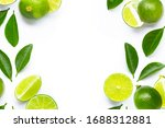 Frame Made Of Fresh Limes With...